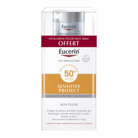 Eucerin - Sun Fluide Visage SPF50+ - Sensitive Protect Peau Sensible - 50ml + Offert Hyalluron Filler 20ml