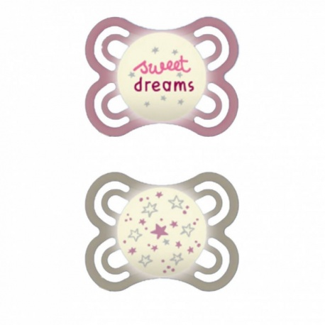 MAM - 2 Sucettes Perfect Nuit 0-6 Mois Silicone