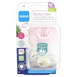 MAM - 2 Sucettes Perfect Nuit Rose/Blanc +18 Mois Silicone